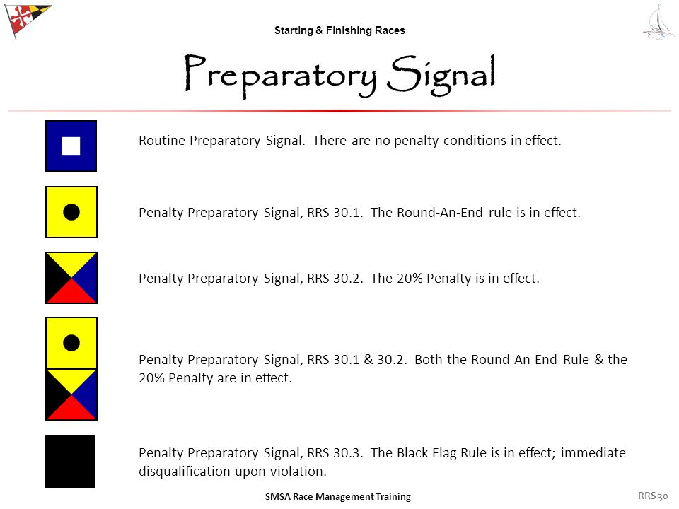 Starting & Finishing Races Preparatory Signal SMSA Race Management Training RRS 30 Routine Preparatory Signal. There are no penalty conditions in effe