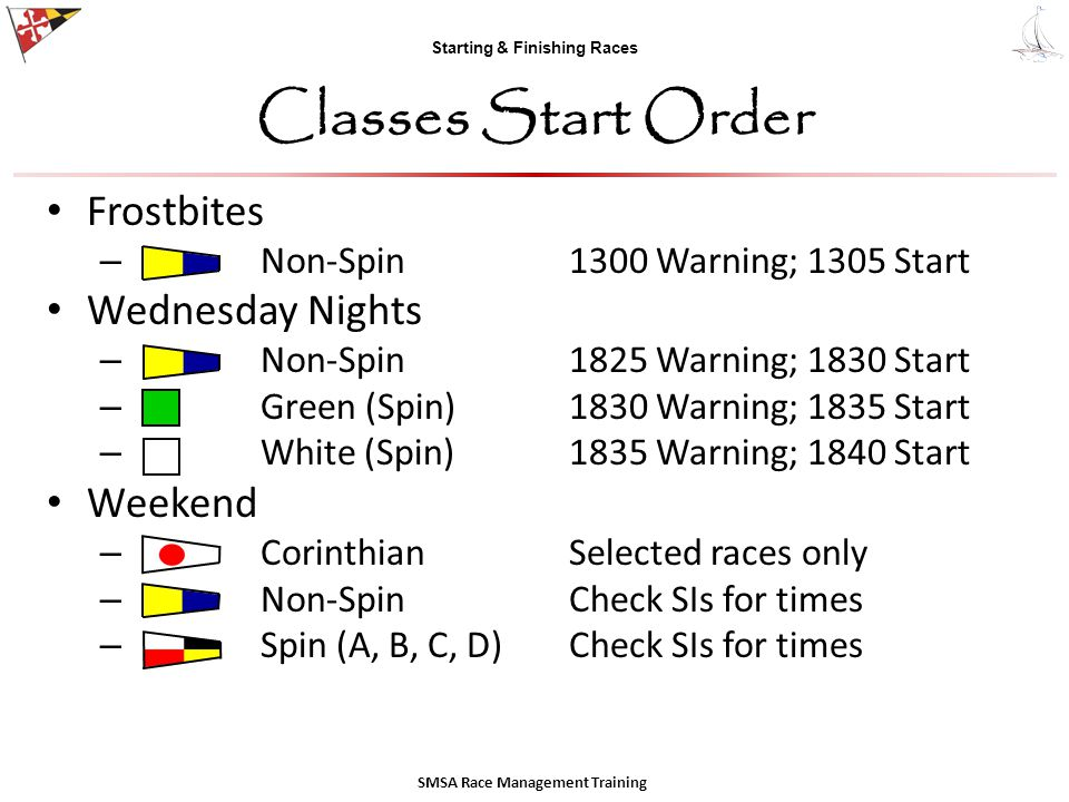 Starting & Finishing Races Classes Start Order Frostbites – Non-Spin1300 Warning; 1305 Start Wednesday Nights – Non-Spin1825 Warning; 1830 Start – Gre