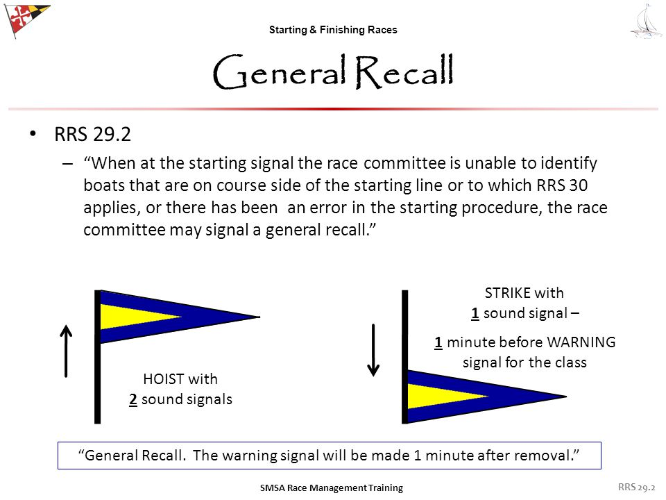 "Starting & Finishing Races General Recall RRS 29.2 – ""When at the starting signal the race committee is unable to identify boats that are on course si"