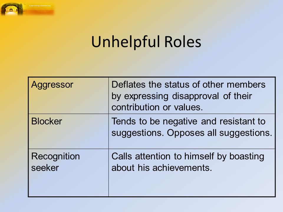 Unhelpful Roles AggressorDeflates the status of other members by expressing disapproval of their contribution or values.