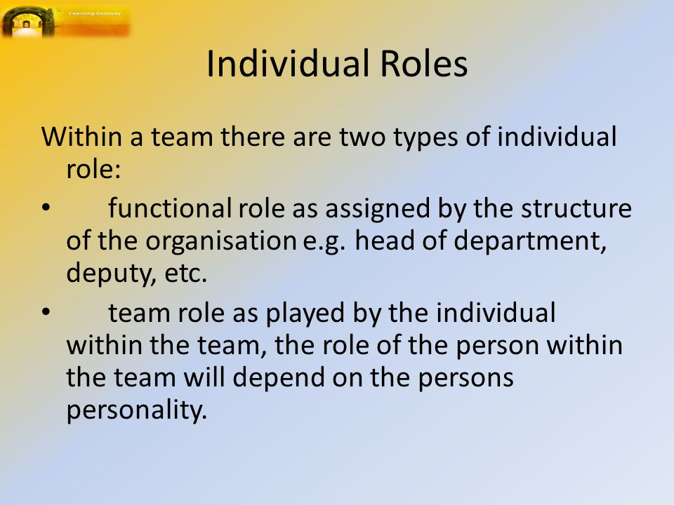 Individual Roles Within a team there are two types of individual role: functional role as assigned by the structure of the organisation e.g.