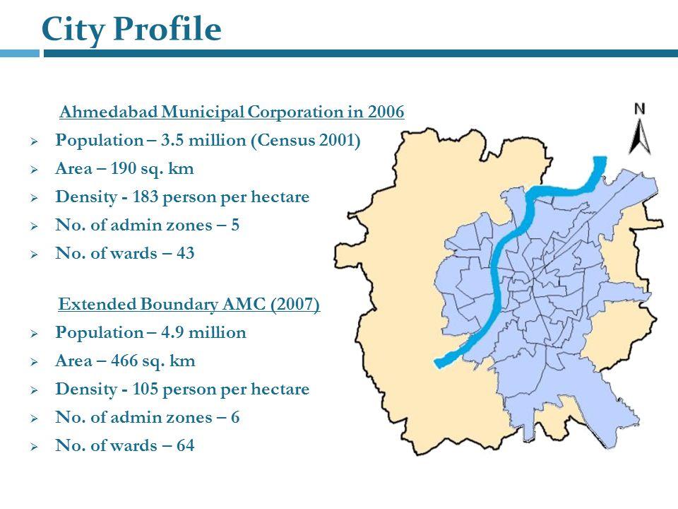 City Profile Ahmedabad Municipal Corporation in 2006  Population – 3.5 million (Census 2001)  Area – 190 sq. km  Density - 183 person per hectare 