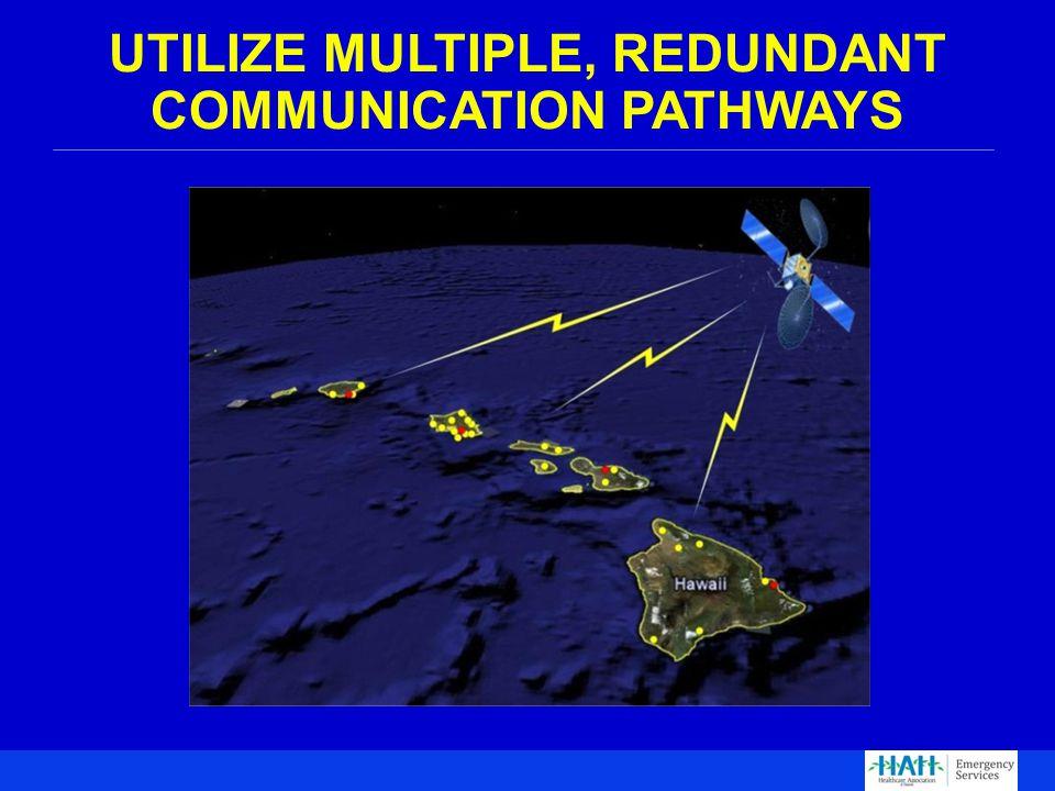UTILIZE MULTIPLE, REDUNDANT COMMUNICATION PATHWAYS