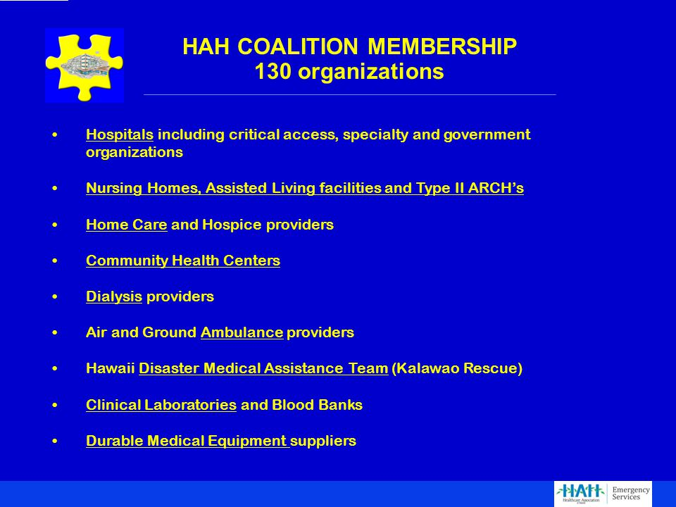 HAH COALITION MEMBERSHIP 130 organizations Hospitals including critical access, specialty and government organizations Nursing Homes, Assisted Living facilities and Type II ARCH's Home Care and Hospice providers Community Health Centers Dialysis providers Air and Ground Ambulance providers Hawaii Disaster Medical Assistance Team (Kalawao Rescue) Clinical Laboratories and Blood Banks Durable Medical Equipment suppliers