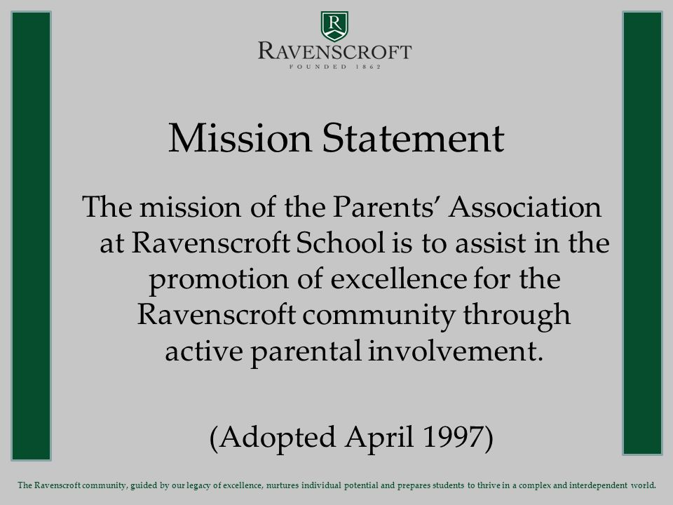 Citipass August 24-September 15 Jan Brown - Chair The Ravenscroft community, guided by our legacy of excellence, nurtures individual potential and prepares students to thrive in a complex and interdependent world.