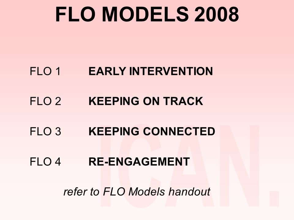 FLO MODELS 2008 FLO 1EARLY INTERVENTION FLO 2KEEPING ON TRACK FLO 3KEEPING CONNECTED FLO 4RE-ENGAGEMENT refer to FLO Models handout