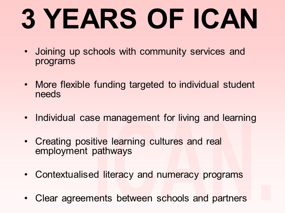 3 YEARS OF ICAN Joining up schools with community services and programs More flexible funding targeted to individual student needs Individual case management for living and learning Creating positive learning cultures and real employment pathways Contextualised literacy and numeracy programs Clear agreements between schools and partners