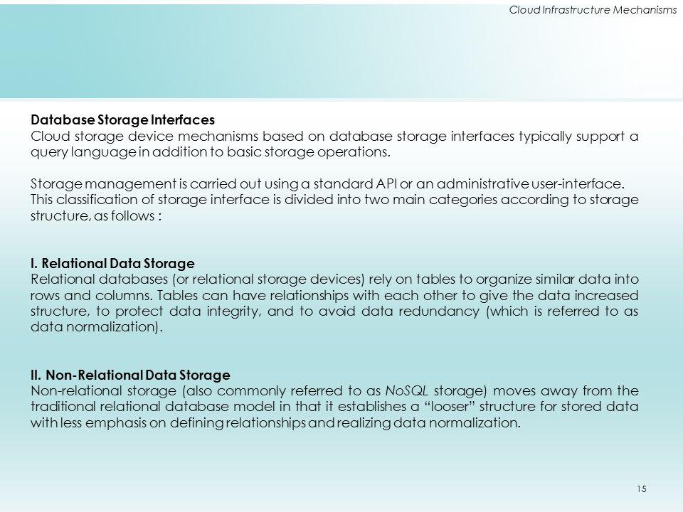 Cloud Infrastructure Mechanisms Database Storage Interfaces Cloud storage device mechanisms based on database storage interfaces typically support a q