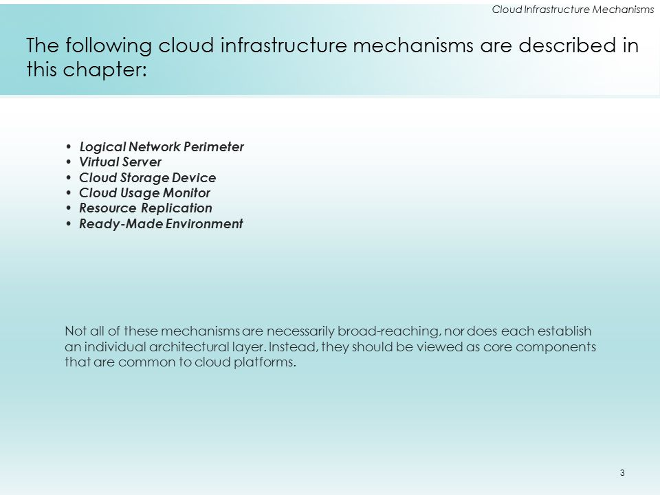 Cloud Infrastructure Mechanisms Network Storage Interfaces Legacy network storage most commonly falls under the category of network storage interfaces.