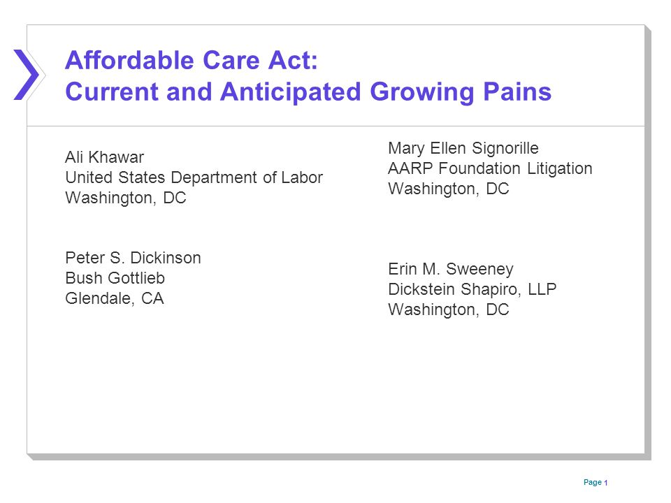 Page Affordable Care Act: Current and Anticipated Growing Pains Ali Khawar United States Department of Labor Washington, DC Peter S.