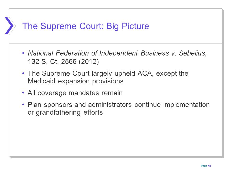 Page The Supreme Court: Big Picture National Federation of Independent Business v.