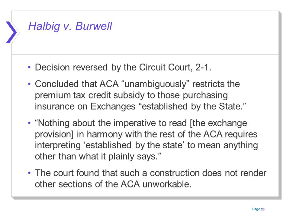 Page Halbig v. Burwell Decision reversed by the Circuit Court, 2-1.