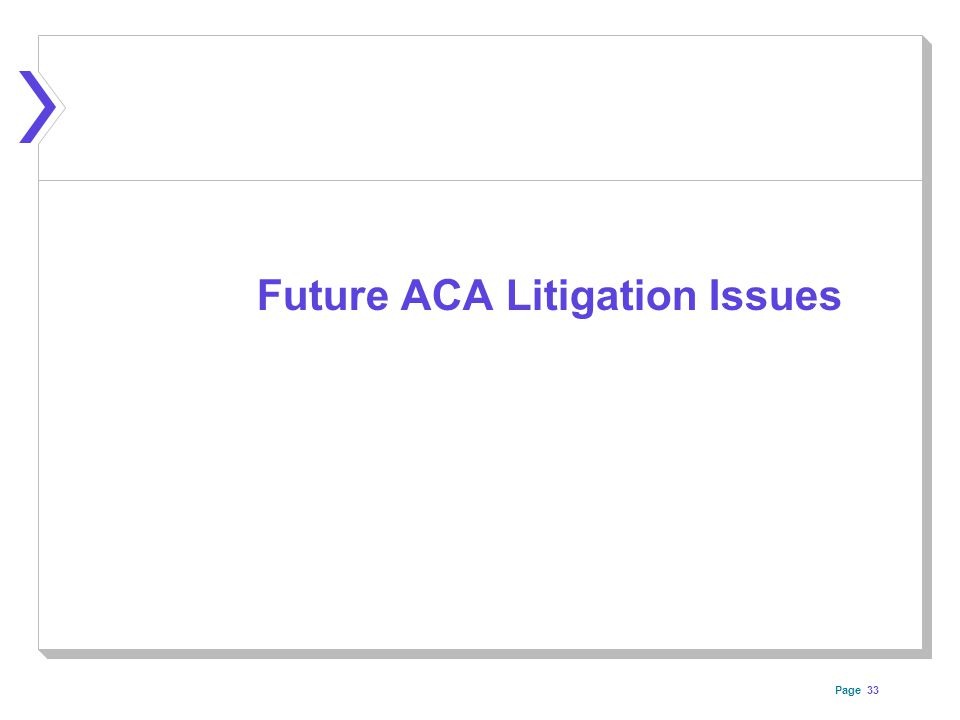 Page 33 Future ACA Litigation Issues