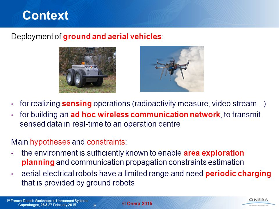 © Onera 2015 1 st French-Danish Workshop on Unmanned Systems Copenhagen, 26 & 27 February 2015 Operation centre 10 Chosen approach Off-line planning On-line plan monitoring and replanning Sup initial plans action execution reports updated plans Goals Constraints