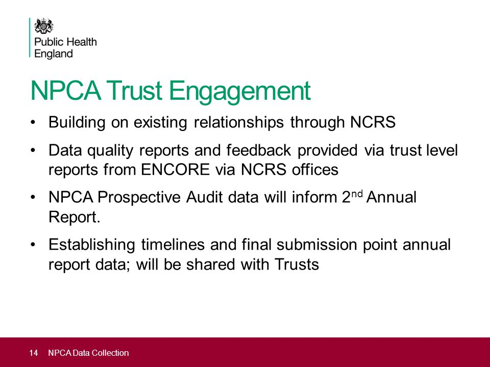 NPCA Trust Engagement Building on existing relationships through NCRS Data quality reports and feedback provided via trust level reports from ENCORE v