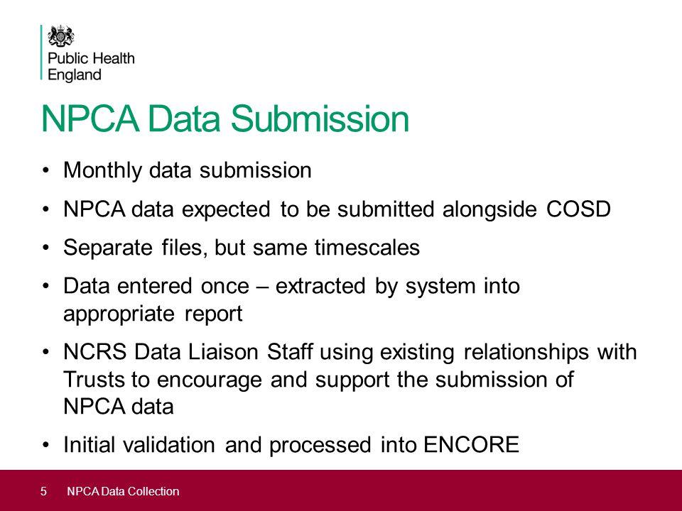 5NPCA Data Collection NPCA Data Submission Monthly data submission NPCA data expected to be submitted alongside COSD Separate files, but same timescal