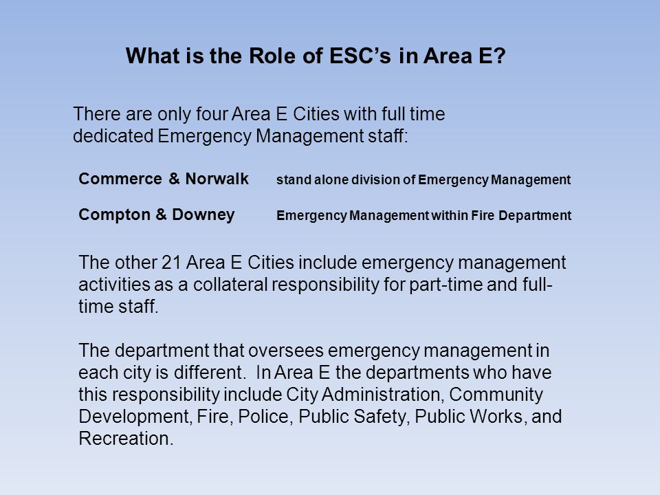 What is the Role of ESC's in Area E? There are only four Area E Cities with full time dedicated Emergency Management staff: Commerce & Norwalk stand a