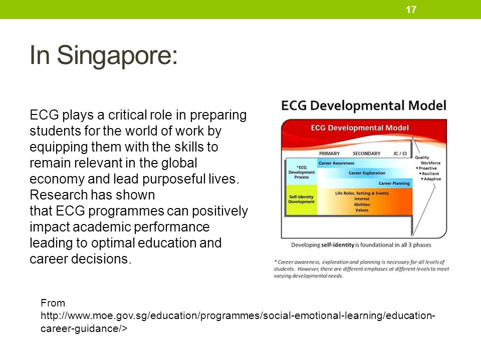 In Singapore: From http://www.moe.gov.sg/education/programmes/social-emotional-learning/education- career-guidance/> ECG plays a critical role in prep