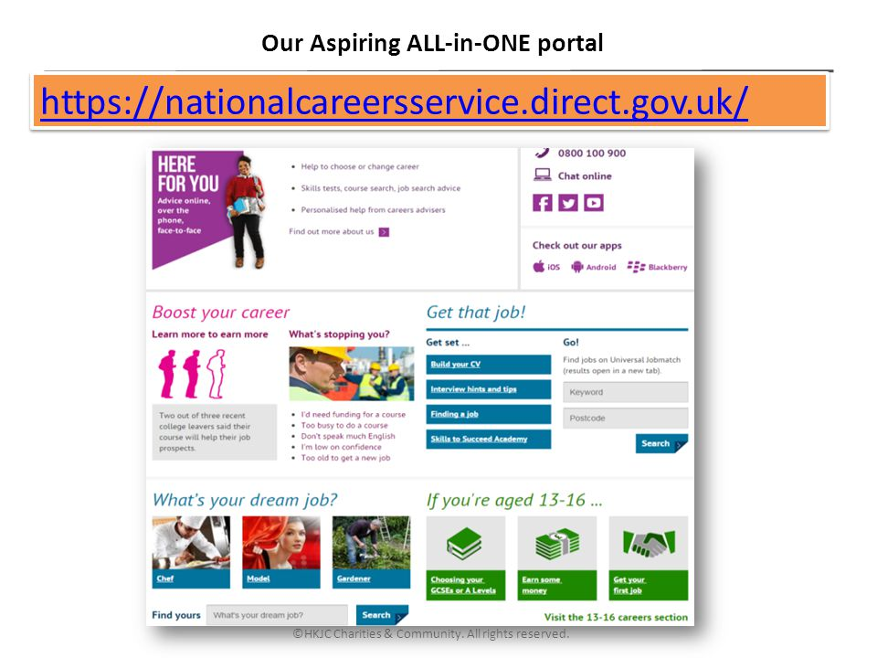 ©HKJC Charities & Community. All rights reserved. Our Aspiring ALL-in-ONE portal https://nationalcareersservice.direct.gov.uk/