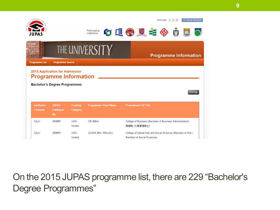 "On the 2015 JUPAS programme list, there are 229 ""Bachelor's Degree Programmes"" 9"