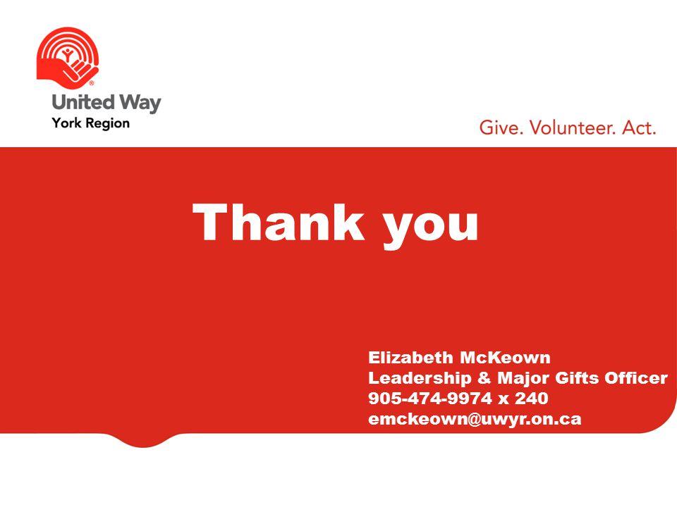 Thank you Elizabeth McKeown Leadership & Major Gifts Officer 905-474-9974 x 240 emckeown@uwyr.on.ca