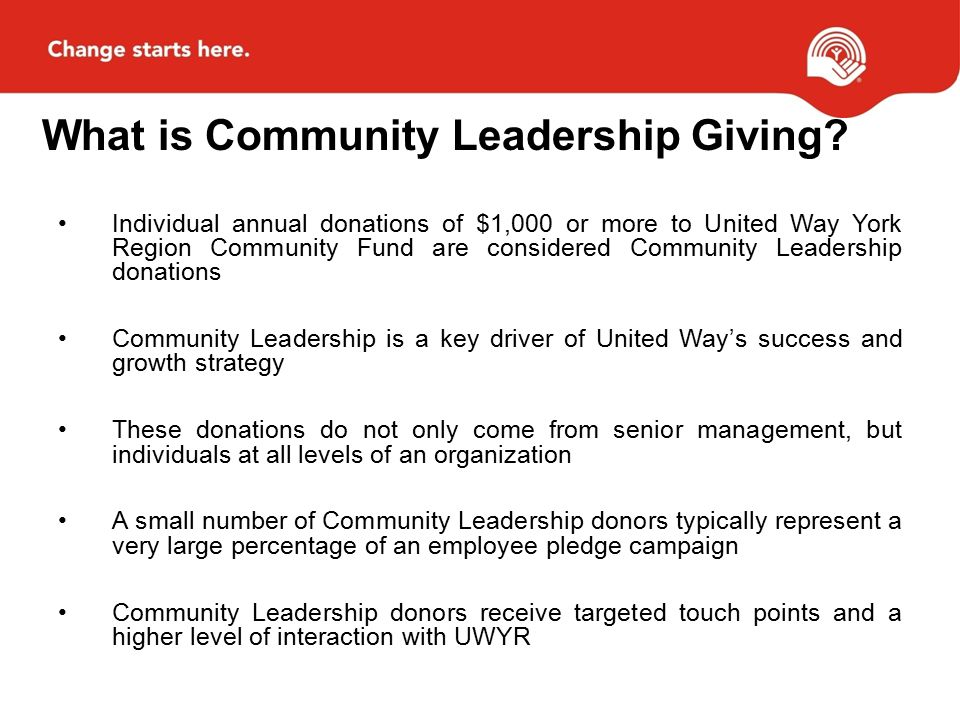 What is Community Leadership Giving.