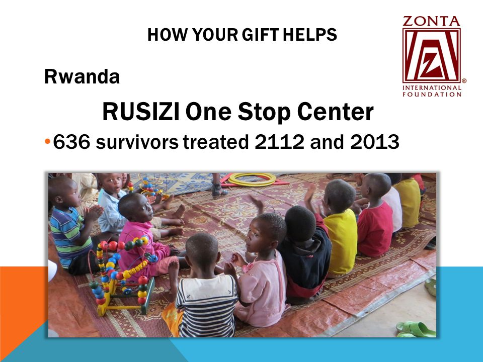HOW YOUR GIFT HELPS Rwanda RUSIZI One Stop Center 636 survivors treated 2112 and 2013