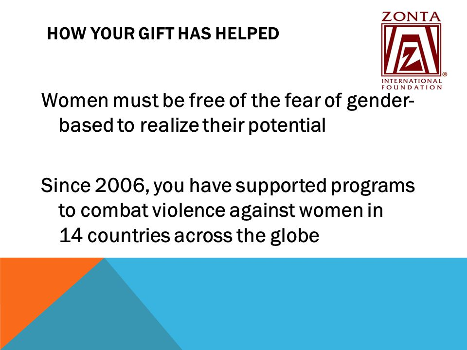 HOW YOUR GIFT HAS HELPED Women must be free of the fear of gender- based to realize their potential Since 2006, you have supported programs to combat violence against women in 14 countries across the globe