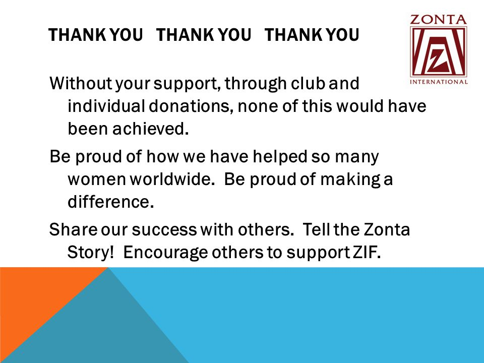 THANK YOU THANK YOU THANK YOU Without your support, through club and individual donations, none of this would have been achieved.