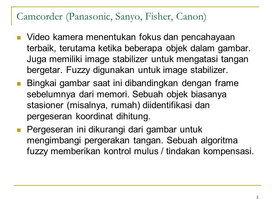 8 Camcorder (Panasonic, Sanyo, Fisher, Canon) Video kamera menentukan fokus dan pencahayaan terbaik, terutama ketika beberapa objek dalam gambar. Juga