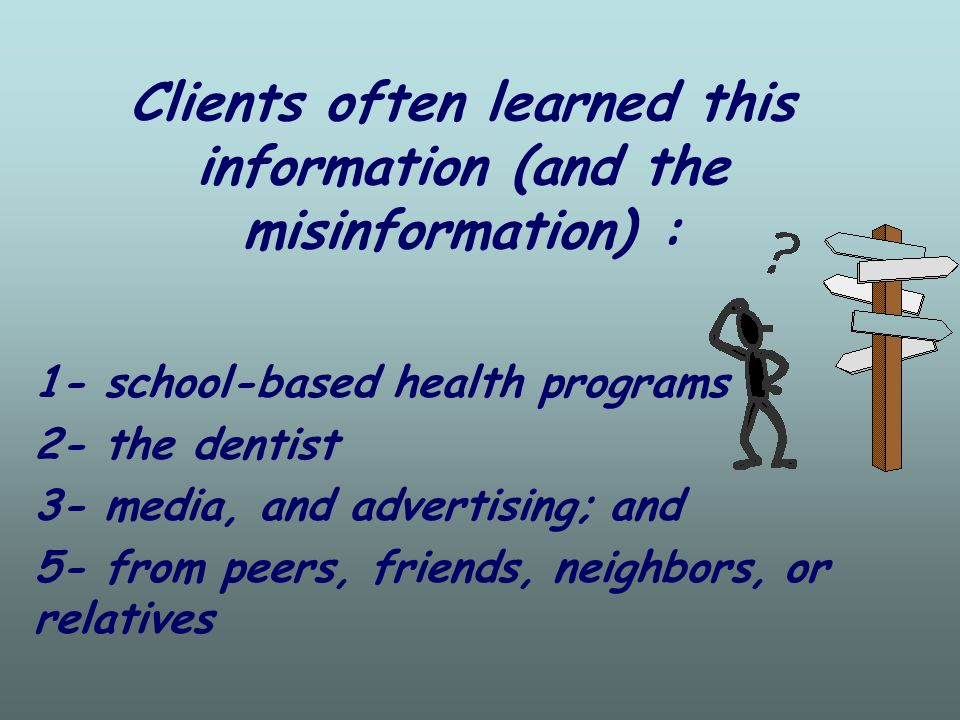 Dental professionals learn preventive dentistry: 1- as part of the curriculum in dental and dental hygiene schools, 2- through reading professional dental journals, 3- by attending professional meetings and conferences, 4- and trough participation in continuing education programs