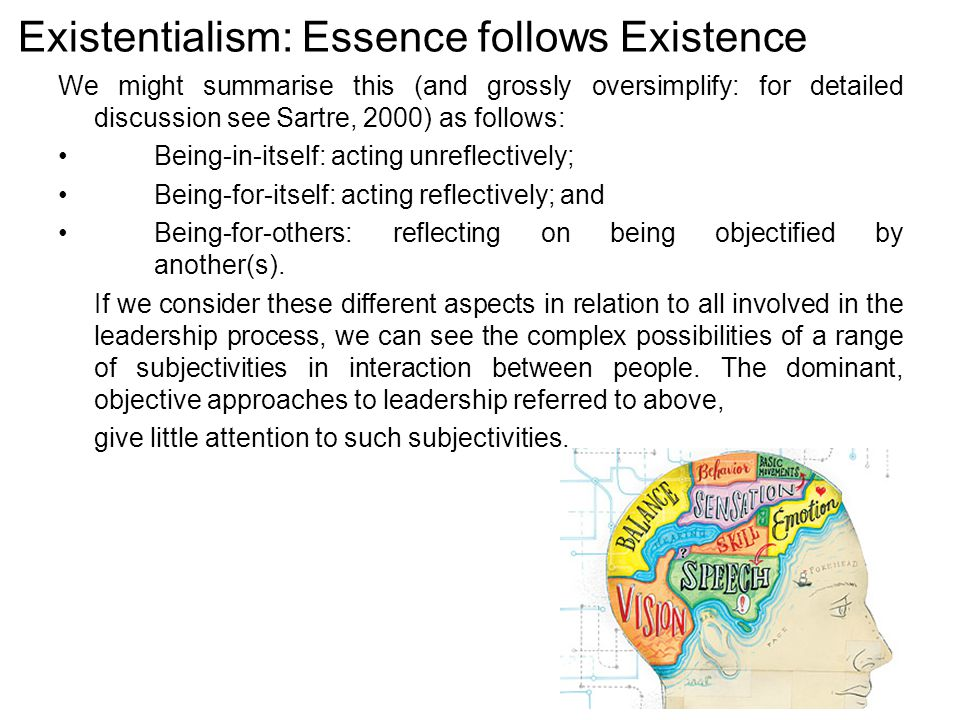 Existentialism: Essence follows Existence We might summarise this (and grossly oversimplify: for detailed discussion see Sartre, 2000) as follows: Being-in-itself: acting unreflectively; Being-for-itself: acting reflectively; and Being-for-others: reflecting on being objectified by another(s).