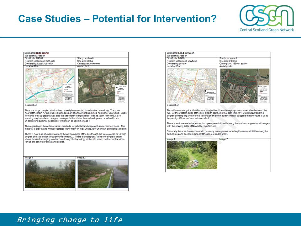 Case Studies – Potential for Intervention? Bringing change to life