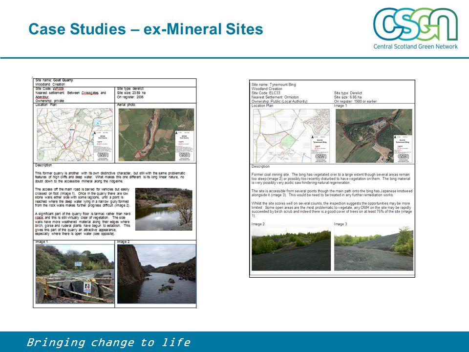 Case Studies – ex-Mineral Sites Bringing change to life