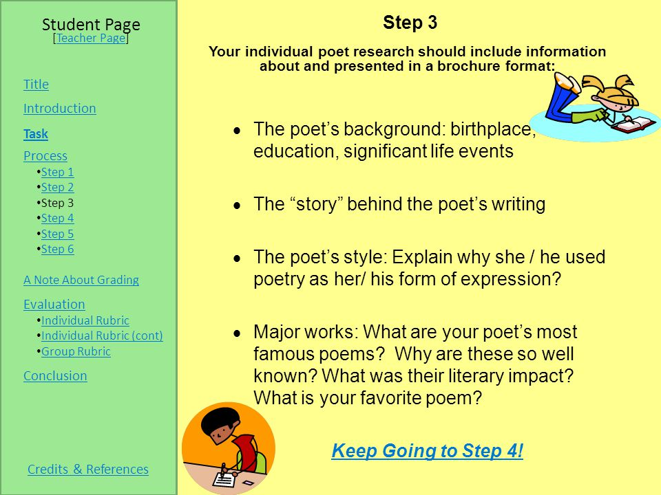 Step 3 Your individual poet research should include information about and presented in a brochure format:  The poet's background: birthplace, education, significant life events  The story behind the poet's writing  The poet's style: Explain why she / he used poetry as her/ his form of expression.