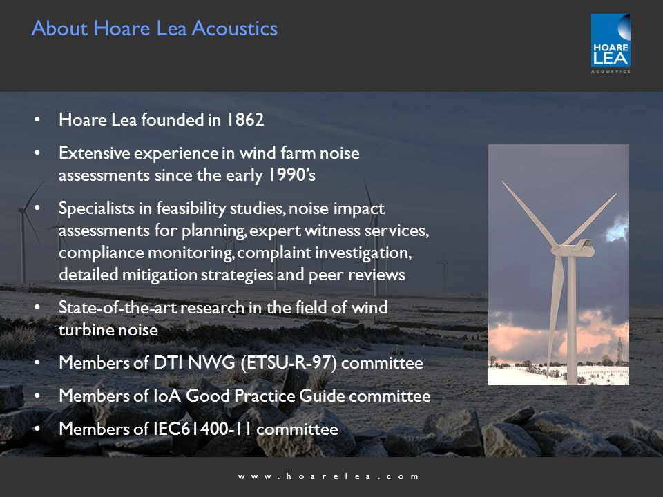 www.hoarelea.com Wind Farm Noise Impact Assessment INTRODUCTION AND OVERVIEW OF THE DAY