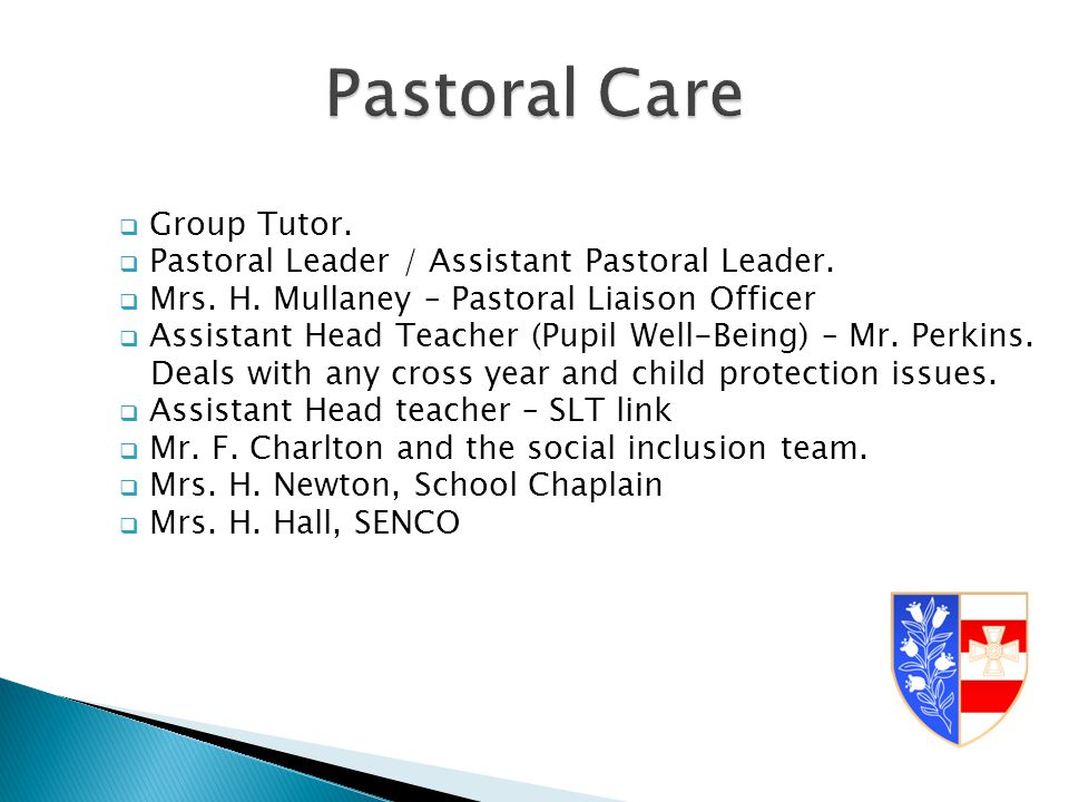  Group Tutor.  Pastoral Leader / Assistant Pastoral Leader.