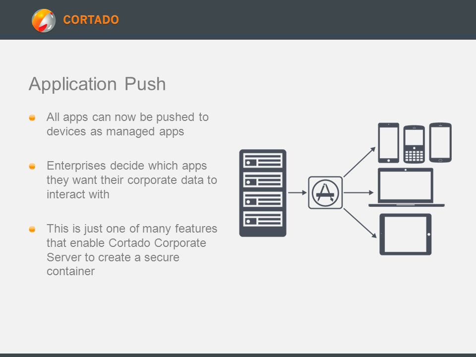 Application Push All apps can now be pushed to devices as managed apps Enterprises decide which apps they want their corporate data to interact with This is just one of many features that enable Cortado Corporate Server to create a secure container