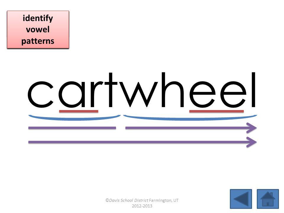 cartwheel blend together identify vowel patterns blend individual syllables identify vowel patterns blend individual syllables identify vowel patterns ©Davis School District Farmington, UT 2012-2013