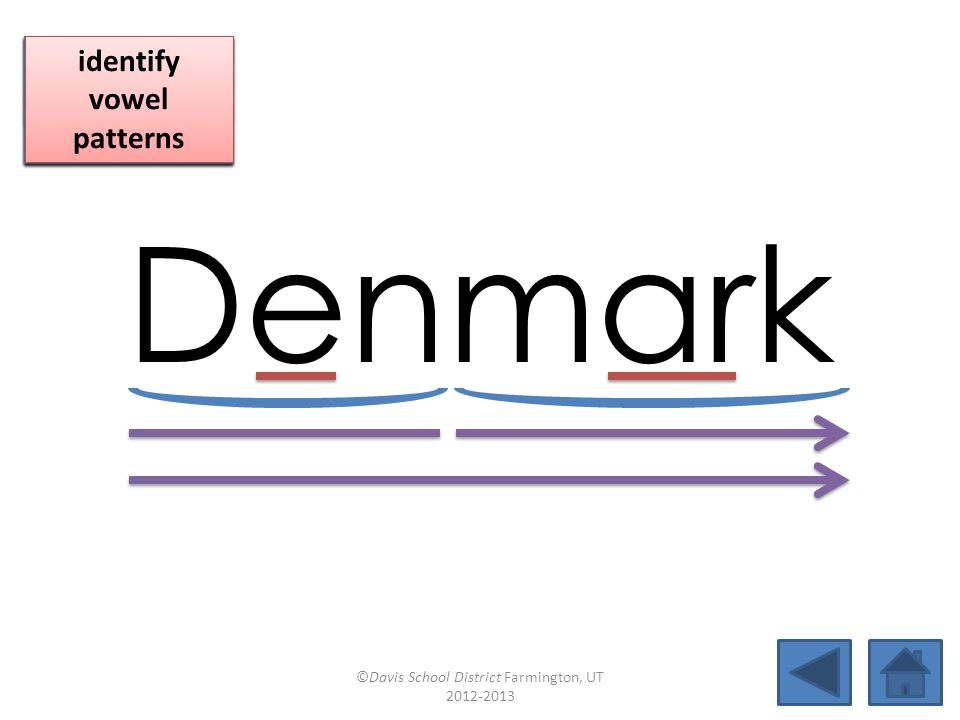 Denmark blend together identify vowel patterns blend individual syllables identify vowel patterns blend individual syllables identify vowel patterns ©Davis School District Farmington, UT 2012-2013