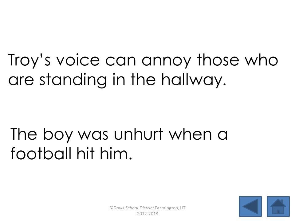 Troy's voice can annoy those who are standing in the hallway. The boy was unhurt when a football hit him. ©Davis School District Farmington, UT 2012-2
