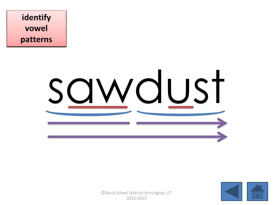 sawdust blend together identify vowel patterns blend individual syllables identify vowel patterns blend individual syllables identify vowel patterns ©Davis School District Farmington, UT 2012-2013