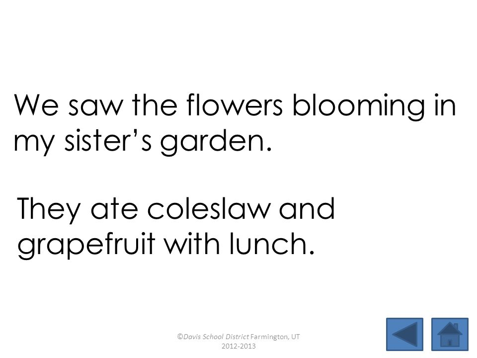 We saw the flowers blooming in my sister's garden. They ate coleslaw and grapefruit with lunch. ©Davis School District Farmington, UT 2012-2013