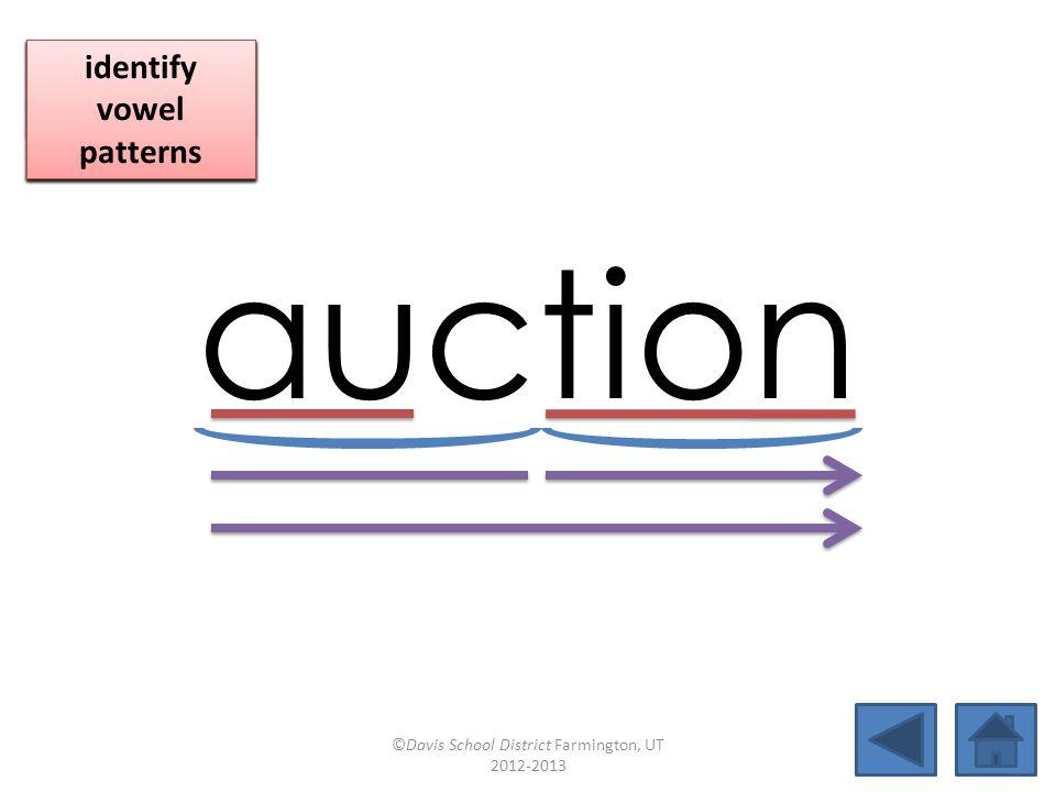 auction blend together identify vowel patterns blend individual syllables identify vowel patterns blend individual syllables identify vowel patterns ©Davis School District Farmington, UT 2012-2013