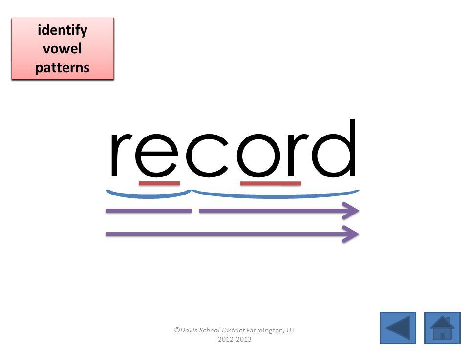 record blend together identify vowel patterns blend individual syllables identify vowel patterns blend individual syllables identify vowel patterns ©Davis School District Farmington, UT 2012-2013