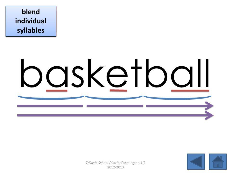 basketball blend together identify vowel patterns blend individual syllables identify vowel patterns blend individual syllables identify vowel patterns blend individual syllables ©Davis School District Farmington, UT 2012-2013
