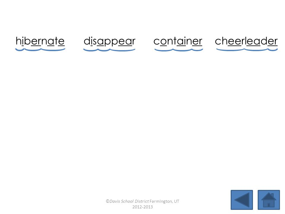hibernate disappearcontainercheerleader cheekboneunpaidrelatenearby reallysidewayswaiterdeepest ©Davis School District Farmington, UT 2012-2013