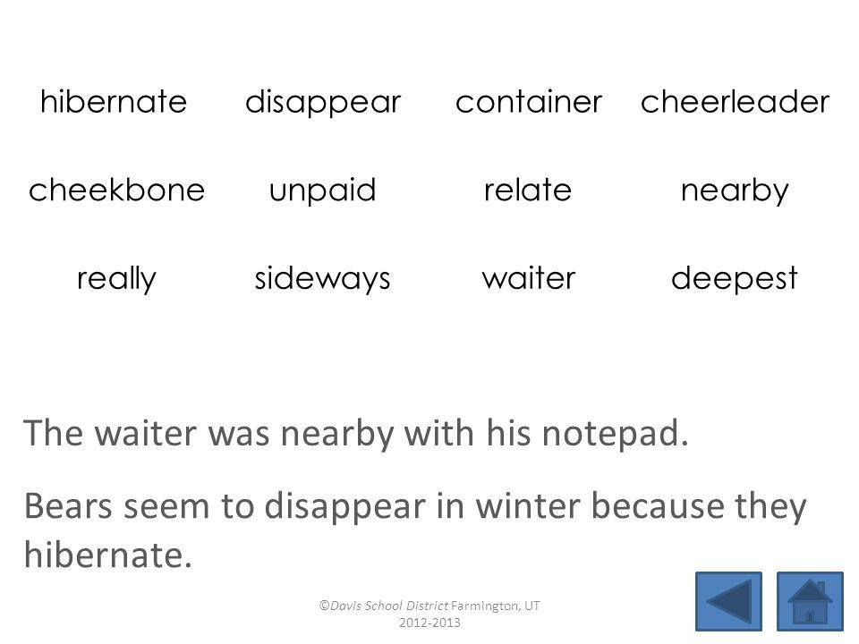 hibernate disappearcontainercheerleader cheekboneunpaidrelatenearby reallysidewayswaiterdeepest The waiter was nearby with his notepad.