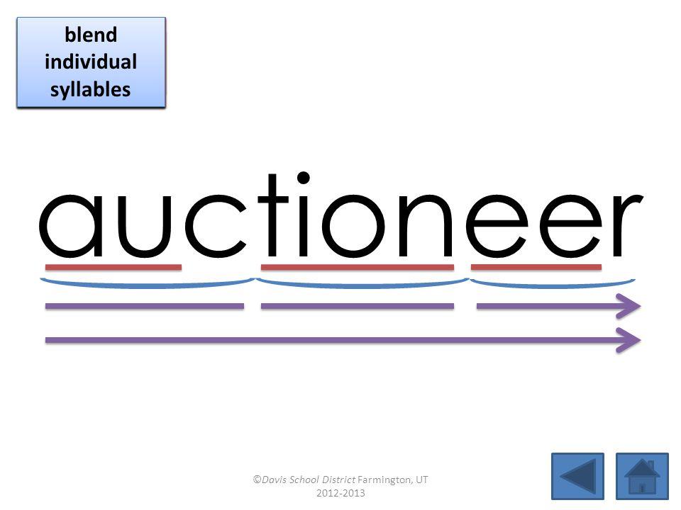 auctioneer blend together identify vowel patterns blend individual syllables identify vowel patterns blend individual syllables identify vowel patterns blend individual syllables ©Davis School District Farmington, UT 2012-2013