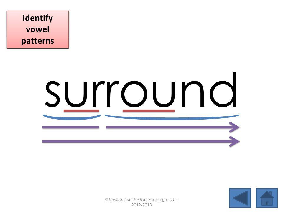 surround blend together identify vowel patterns blend individual syllables identify vowel patterns blend individual syllables identify vowel patterns ©Davis School District Farmington, UT 2012-2013